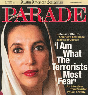 Benazir Bhutto on the cover of Parade Magazine