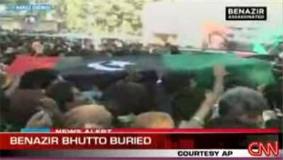 Mourners carry Benazir Bhutto's coffin