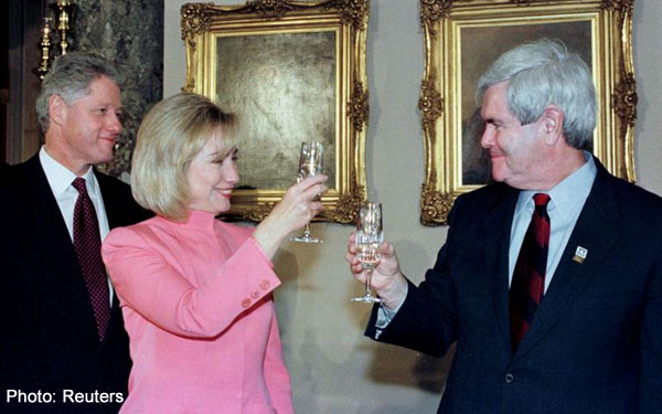 Bill, Hillary, and Newt celebrate