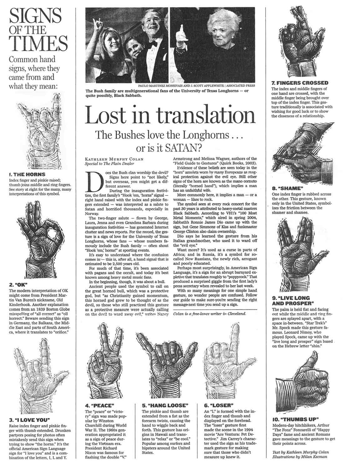 ... appeared to be the devil's hand sign.(Click image for readable text