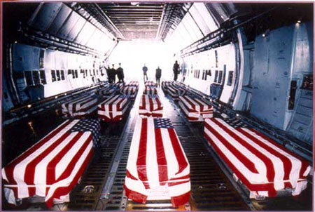 Flag-draped coffins of U.S. Service Men