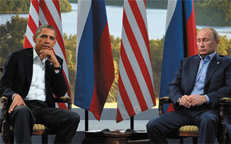 Obama and Putin look very glum