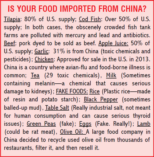 Food imported from China
