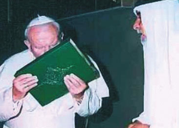 Pope John Paul II kisses the Koran