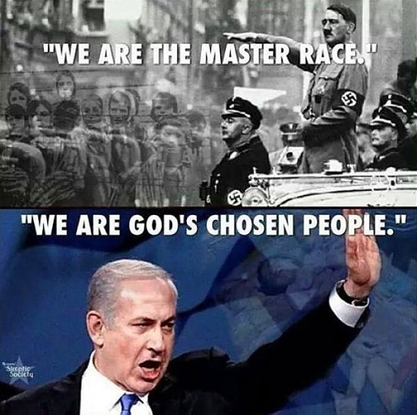Hitler and Netanyahu share the same handsigns