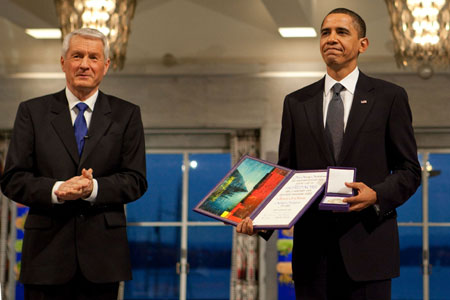 Obama with Nobel Peace Prize
