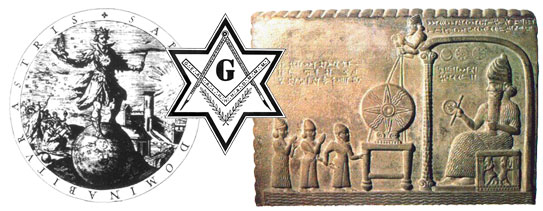 Left to right: Reign of the Wise, Masonic hexagram, and Sumerian god