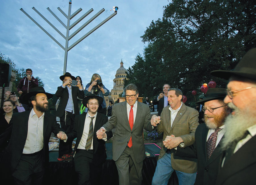 Rick Perry dancing with rabbis in the streets of Austin, Texas