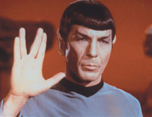 Leonard Nimoy giving the Vulcan greeting