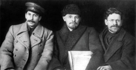 Communist monsters stalin lenin and trotsky 1919 were installed in