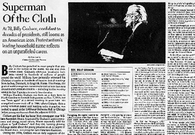 Newspaper clipping of Billy Graham being called the superman of the cloth