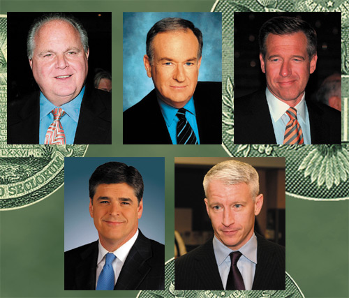 L to R: Rush Limbaugh, Bill O'Reilly, Brian Williams, Sean Hannity, Anderson Cooper